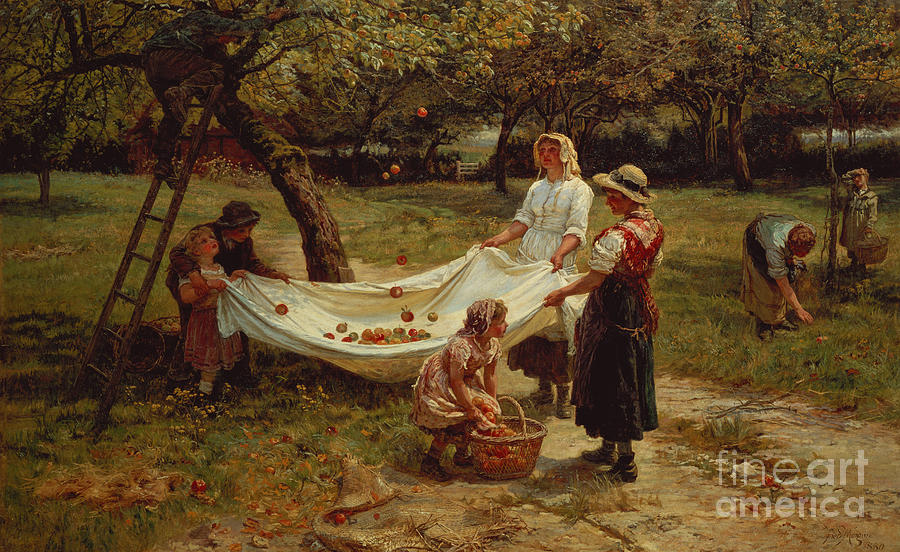 The Painting - The Apple Gatherers by Frederick Morgan