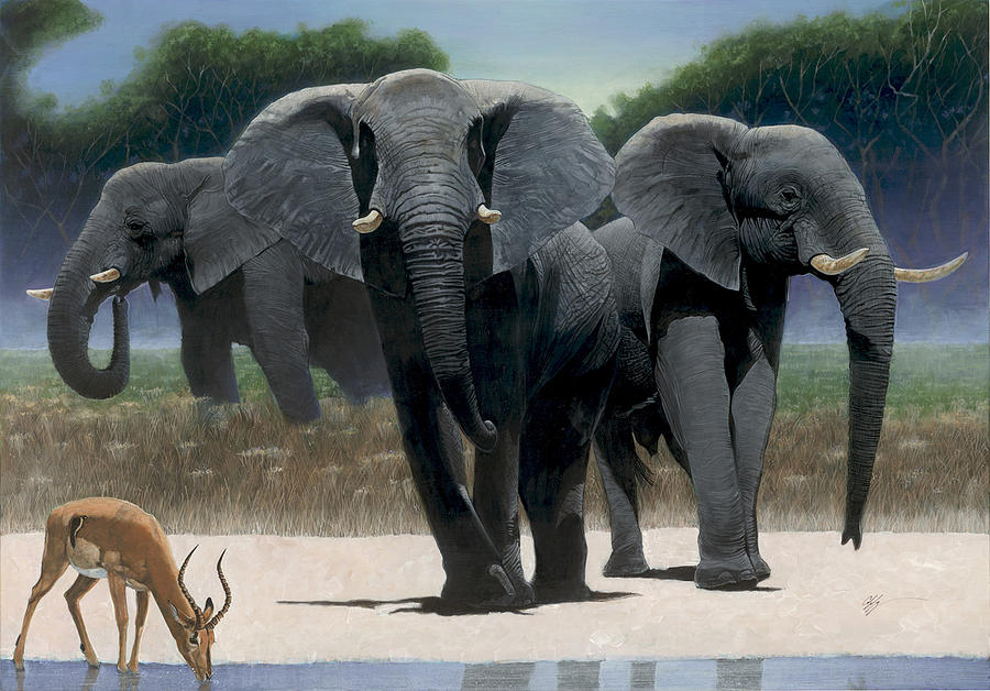 African Elephants Painting - The Approach by Durwood Coffey