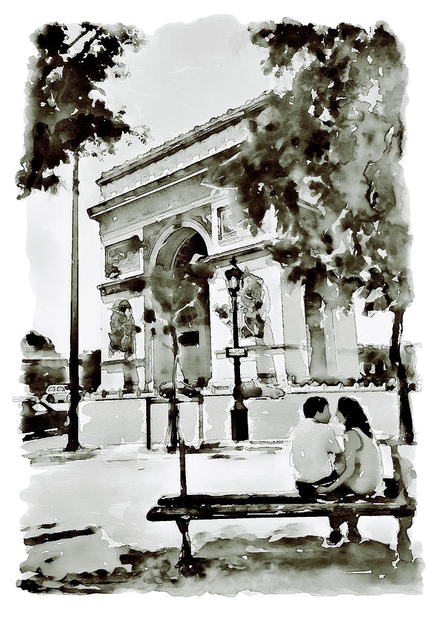 Arch Of Triumph Painting - The Arc De Triomphe Paris Black And White by Marian Voicu