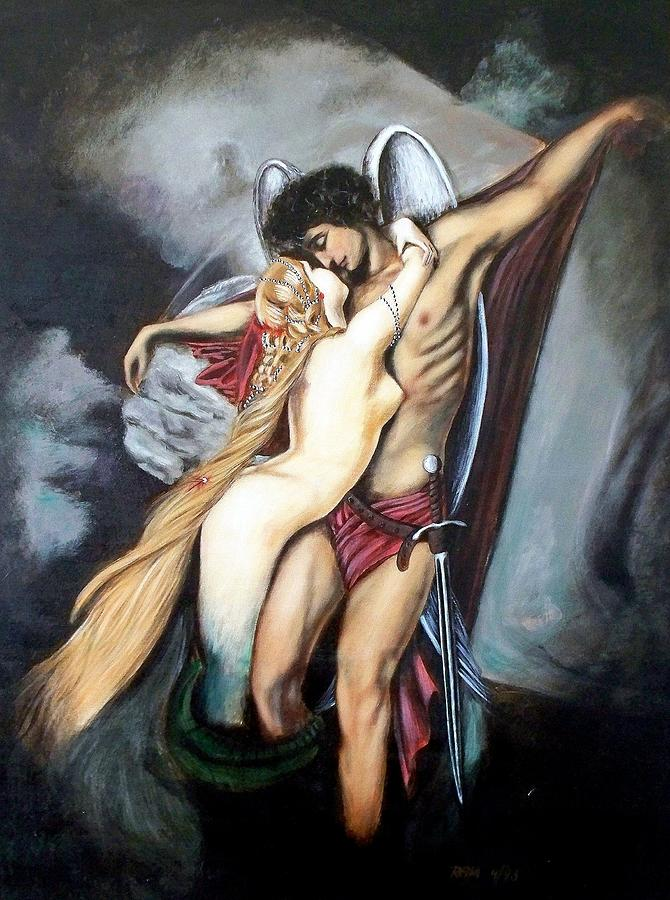 Painting Painting - The Arcangel Micheal And  The Mermaid by RB McGrath