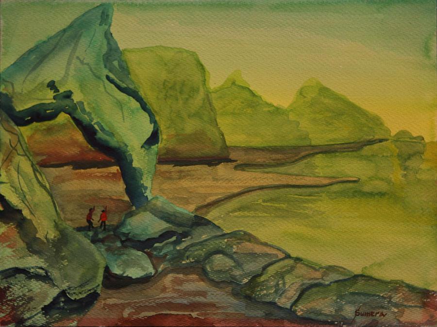 Watercolor Painting - The Arch by Rosencruz  Sumera