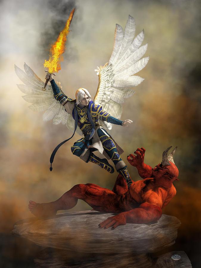 Archangel Digital Art - The Archangel Michael by Daniel Eskridge
