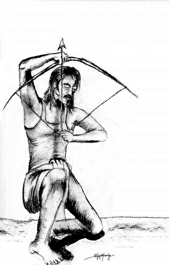 Archer Drawing - The Archer by Sy Banerjee