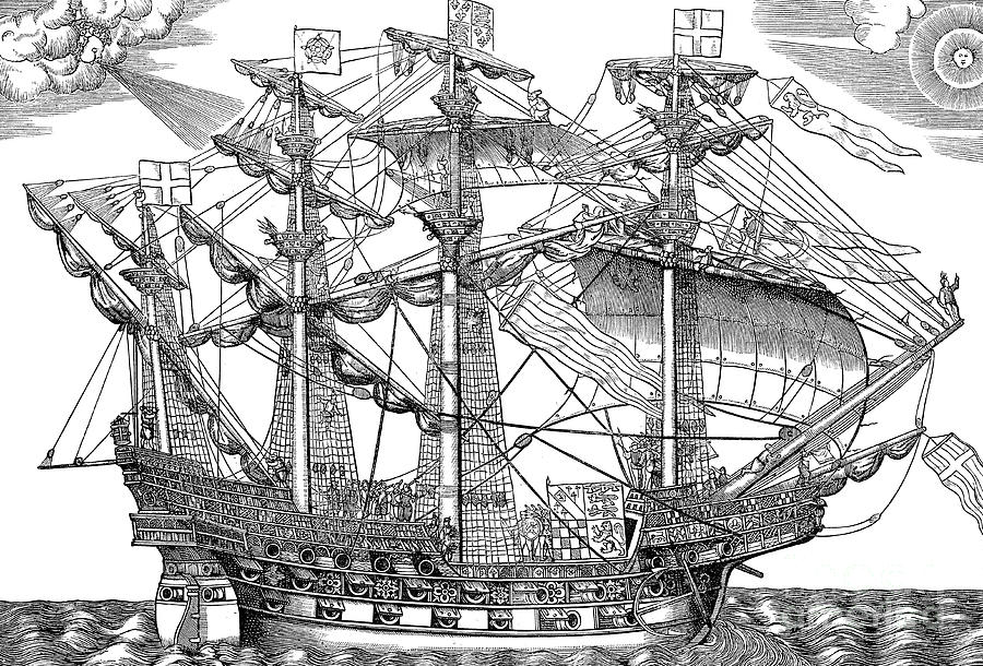 Ship Drawing - The Ark Raleigh, the Flagship of the English Fleet by English School