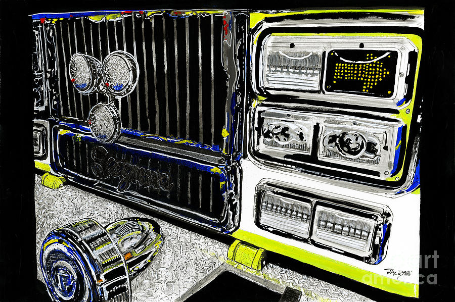 Fire Engine Painting - The Arrival by Kevin Scott Jacobs