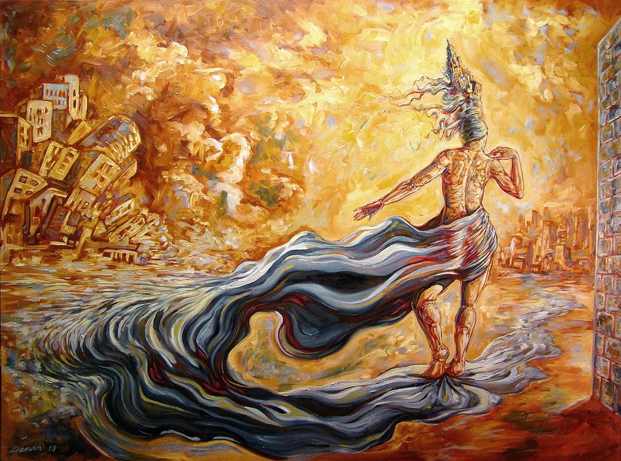 Surrealism Painting - The Arrival Of The Goddess Of Consciousness by Darwin Leon