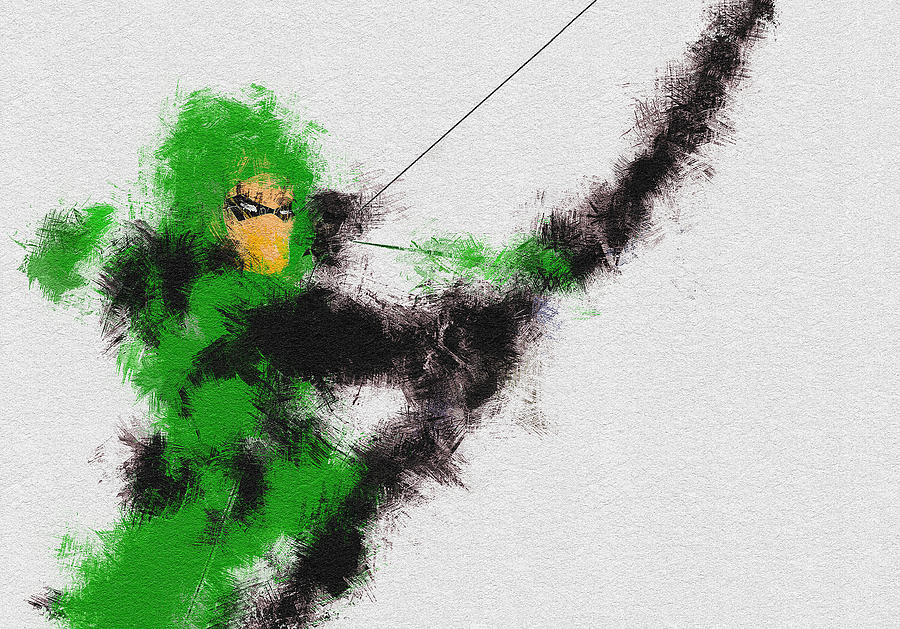Green Painting - The Arrow of Justice by Miranda Sether
