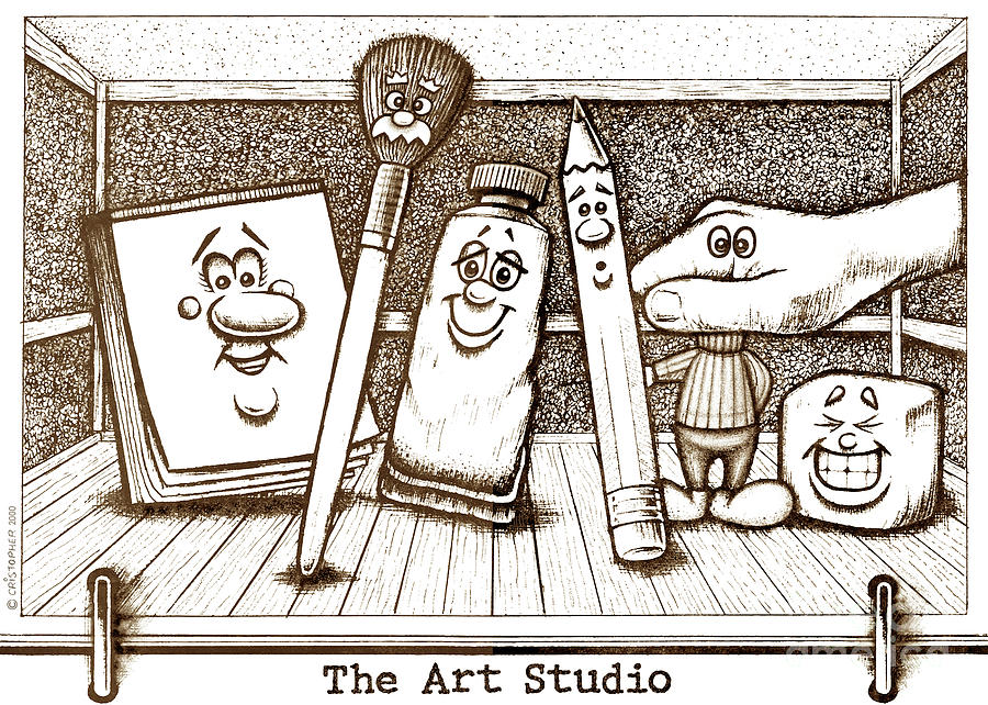 The Art Studio Drawing - The Art Studio by Cristophers Dream Artistry