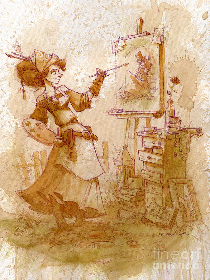 Steampunk Painting - The Artist by Brian Kesinger