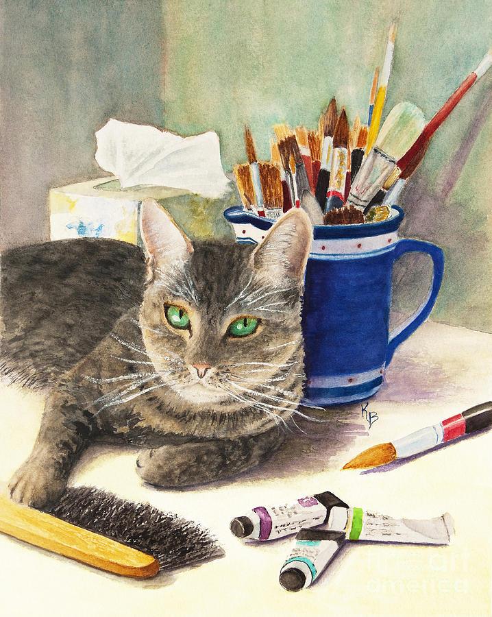 Cat Painting - The Artiste by Karen Fleschler