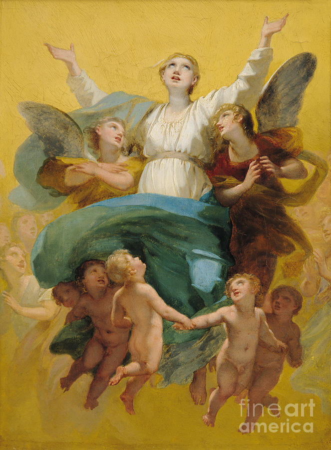 The Painting - The Assumption Of The Virgin by Pierre Paul Prudhon