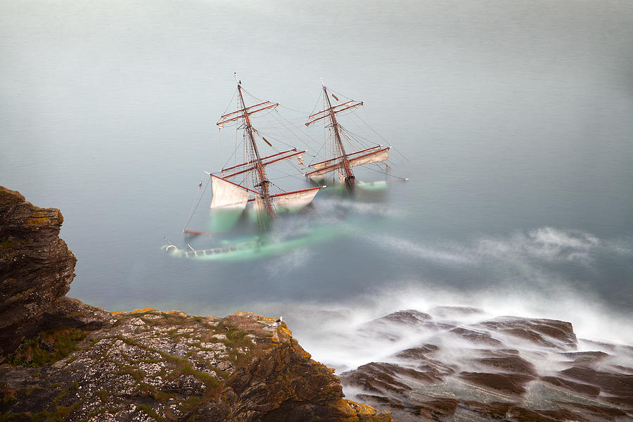 Wreck Photograph - The Astrid Goes Aground by Alan Mahon