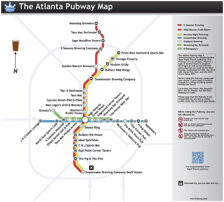 Beer Digital Art - The Atlanta Pubway Map by Unquestionable Taste