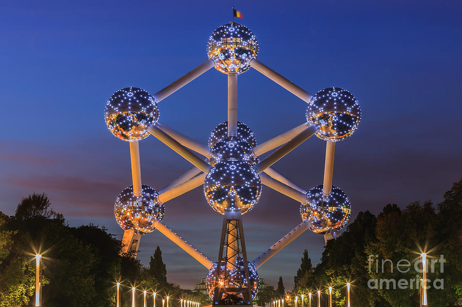 The Atomium In Brussels During Blue Hour Photograph