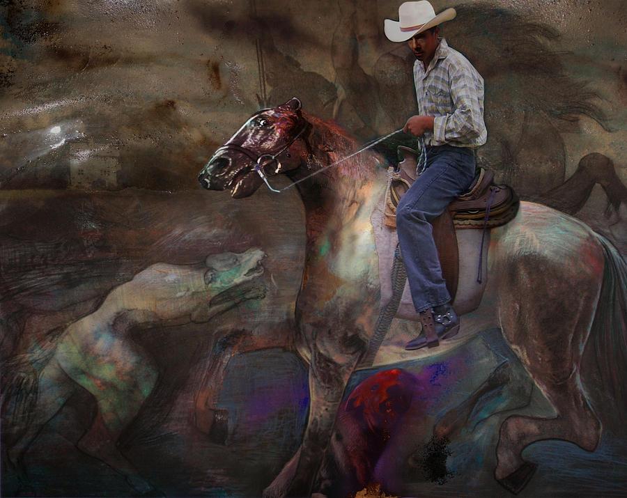 Horse Digital Art - The Attack by Henriette Tuer lund