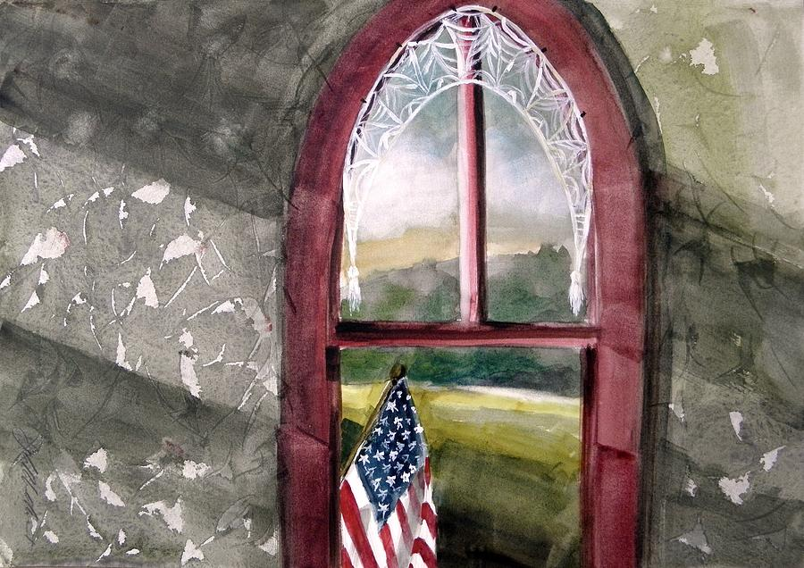 Flag Painting - The Attic Window by John Williams