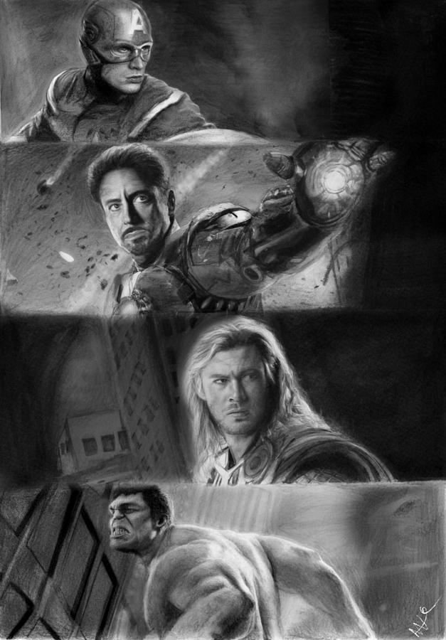 The Avengers Drawing - The Avengers by Nat Morley
