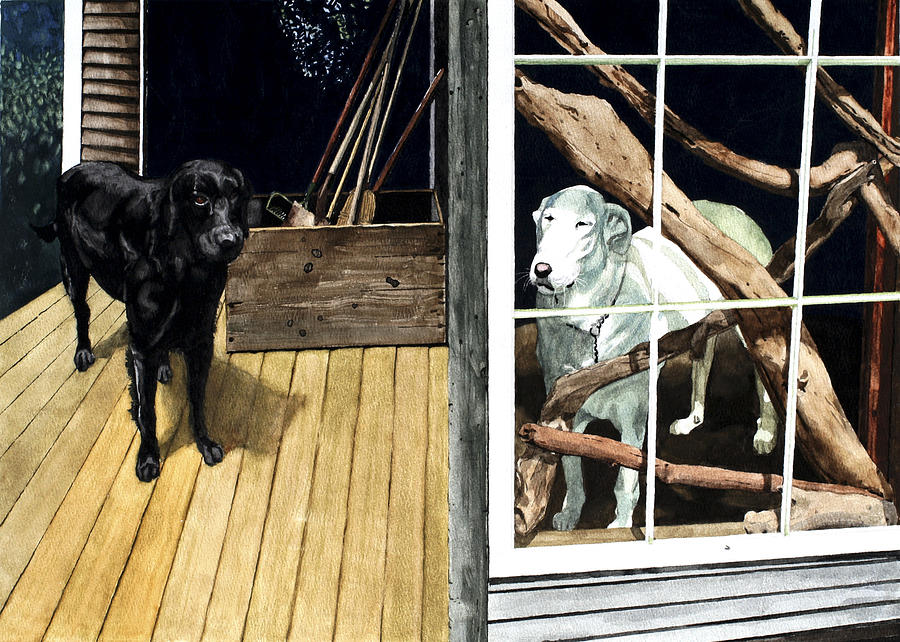 Dogs Painting - The Back Porch by Perry Woodfin