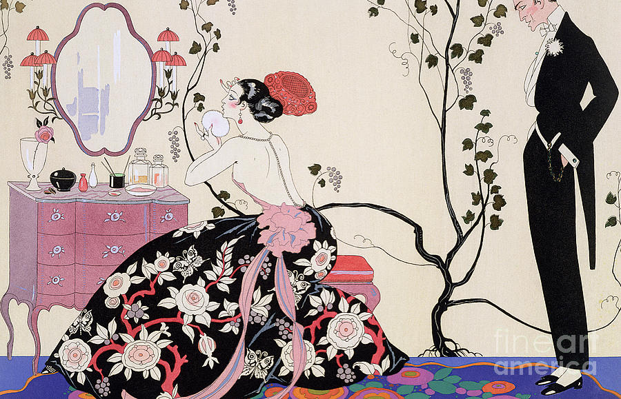 Barbier Drawing - The Backless Dress by Georges Barbier