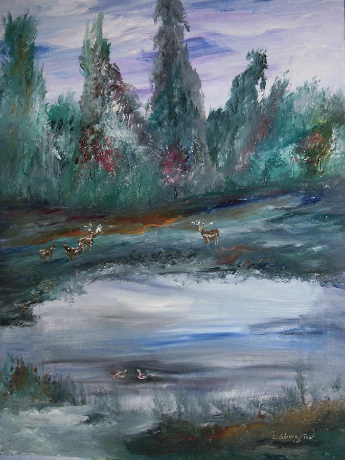 Landscape Painting - The Backwaters Pond by Edward Wolverton