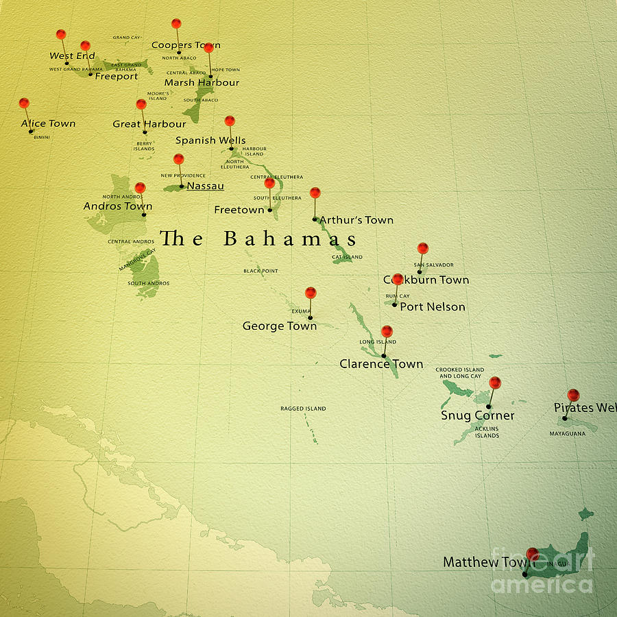 The bahamas map square cities straight pin vintage digital art by cartography digital art the bahamas map square cities straight pin vintage by frank ramspott publicscrutiny Images