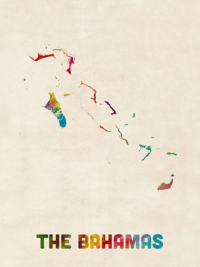 Watercolour Digital Art - The Bahamas Watercolor Map by Michael Tompsett
