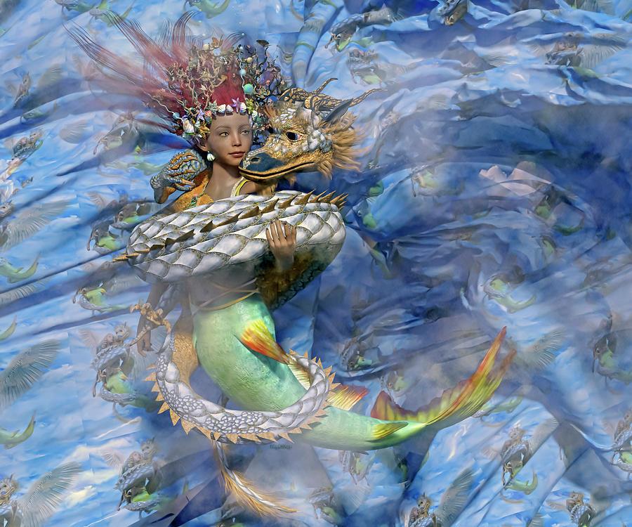 Mermaid Digital Art - Beauty And The Beast by Betsy Knapp