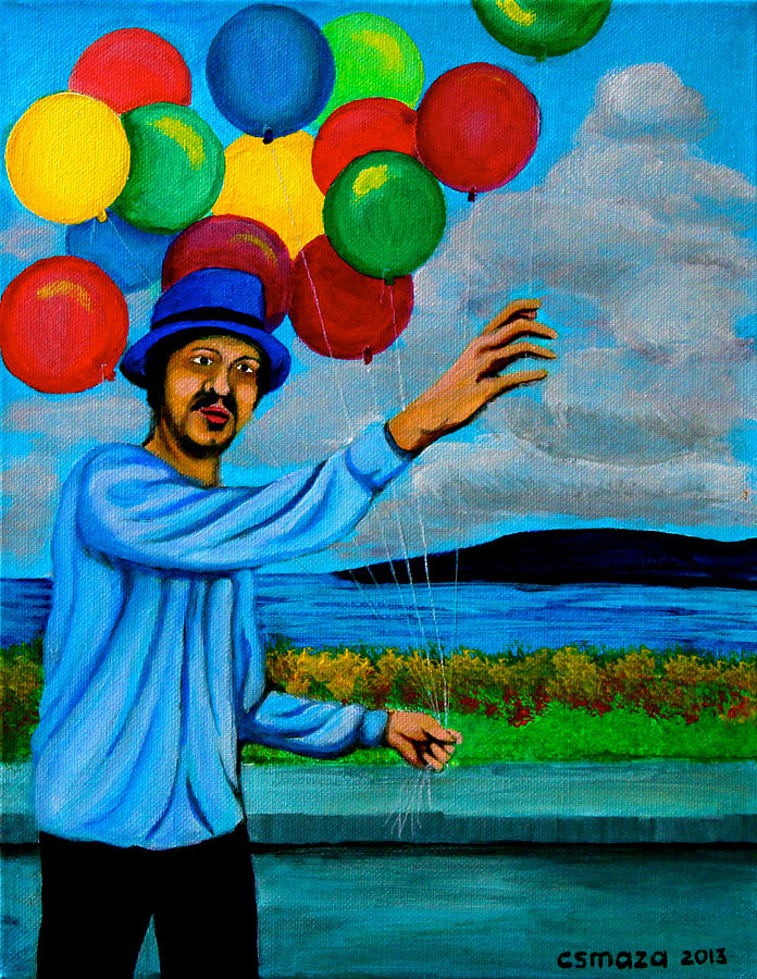 Balloon Painting - The Balloon Vendor by Cyril Maza