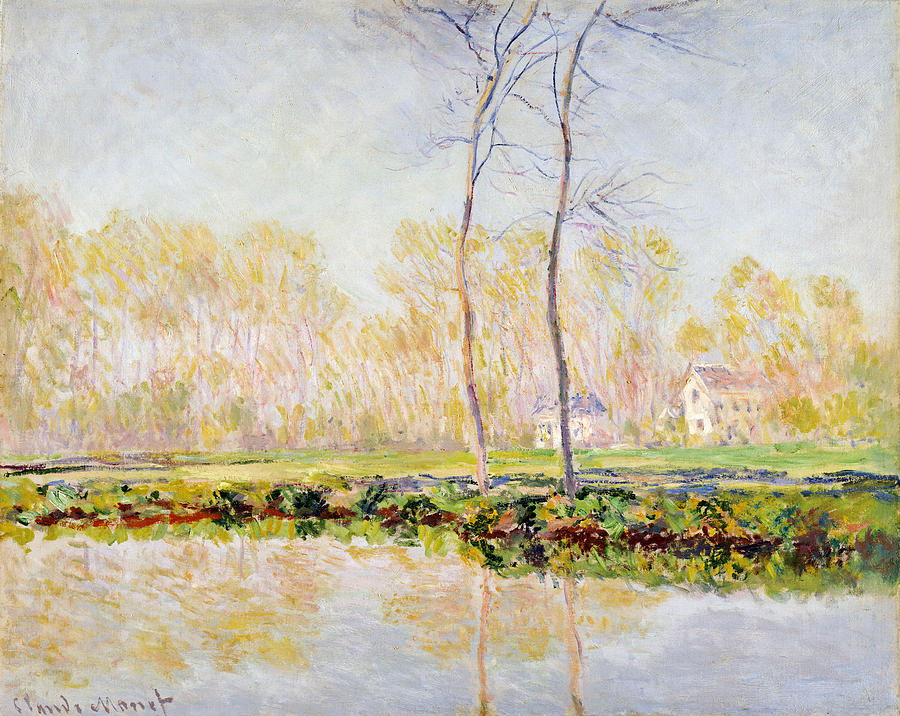 Claude Painting - The Banks Of The River Epte At Giverny by Claude Monet