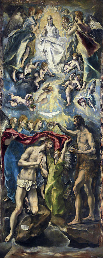 Baptism Painting - The Baptism Of Christ by El Greco
