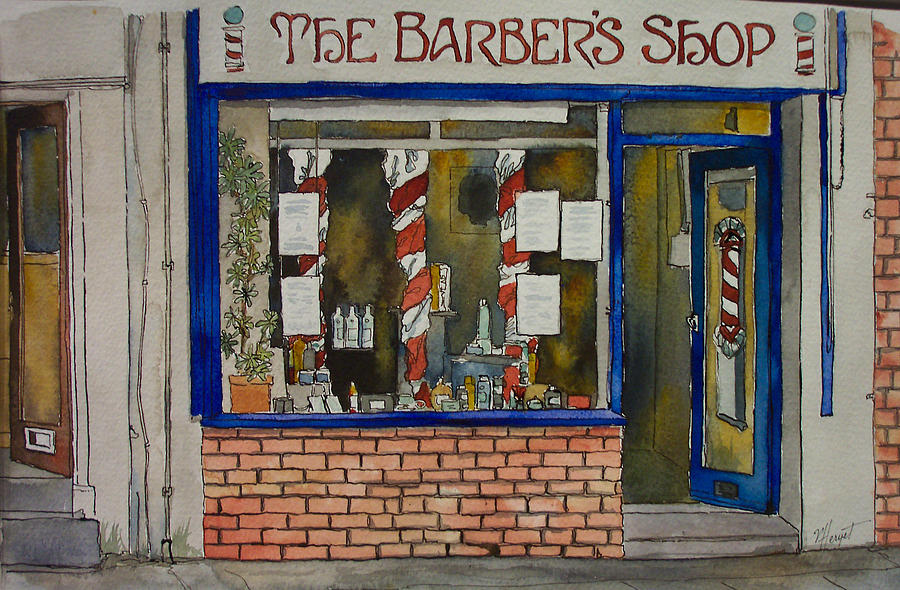 Barber Painting - The Barber Shop by Victoria Heryet