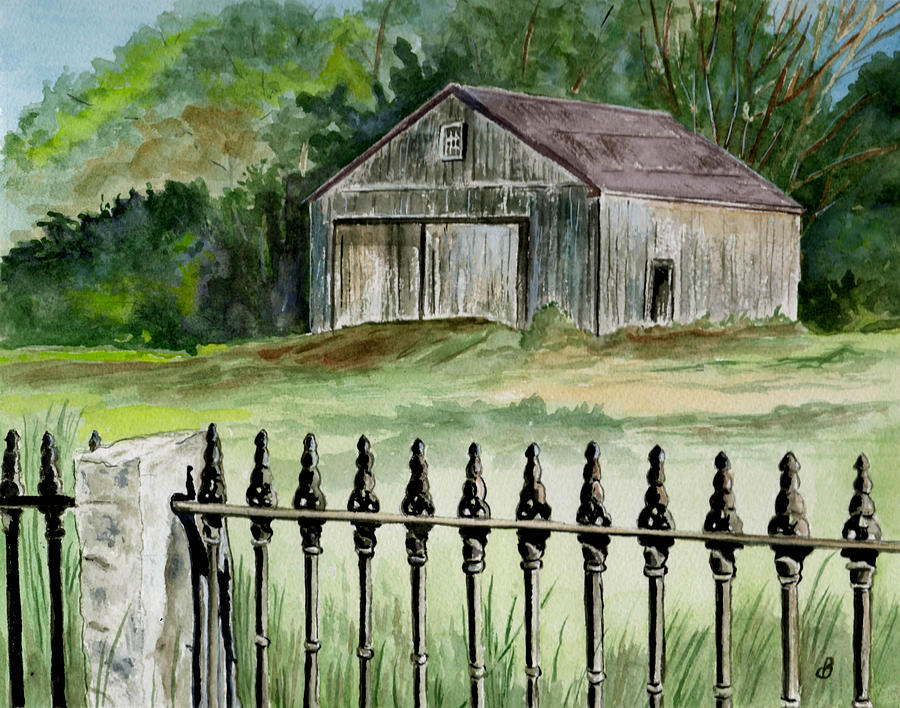 Landscape Painting - The Barn At Parsonsfield Maine by Brenda Owen