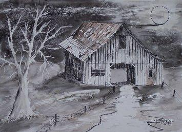 THE BARN country pen and ink drawing Painting by Derek Mccrea