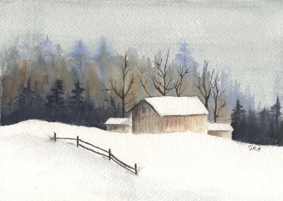 Barn Painting - The Barn by Jan Anderson