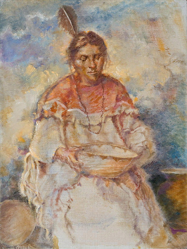 Native Americans Painting - The Basket Maker by Ellen Dreibelbis
