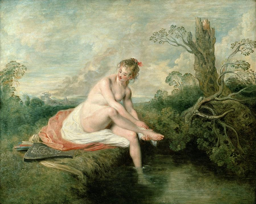 The Painting - The Bath Of Diana by Jean Antoine Watteau