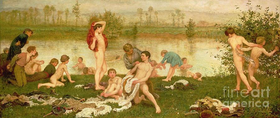 Nude Painting - The Bathers by Frederick Walker