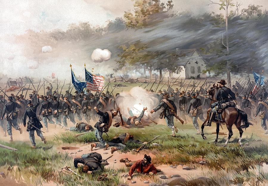 Civil War Painting - The Battle of Antietam by War Is Hell Store