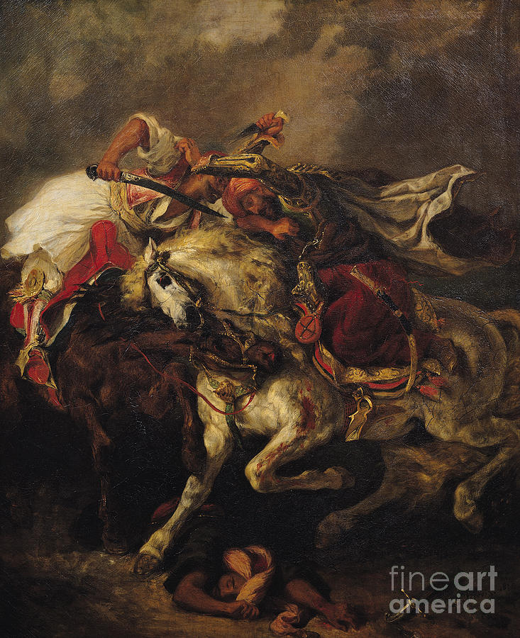 The Painting - The Battle Of Giaour And Hassan by Ferdinand Victor Eugene Delacroix