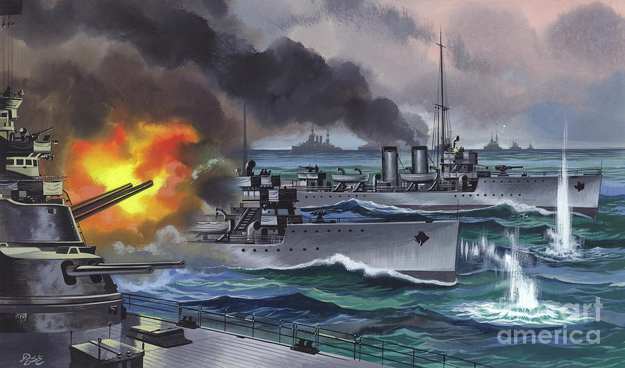 Jutland Painting - The Battle Of Jutland  by Ron Embleton