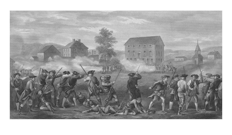Minutemen Drawing - The Battle Of Lexington by War Is Hell Store