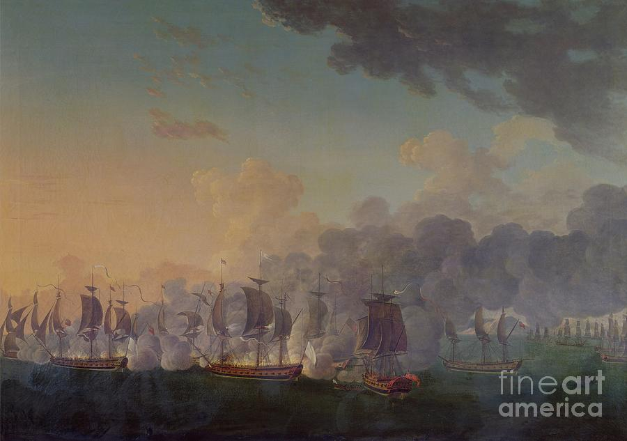 The Painting - The Battle Of Louisbourg On The 21st July 1781 by Auguste Rossel De Cercy
