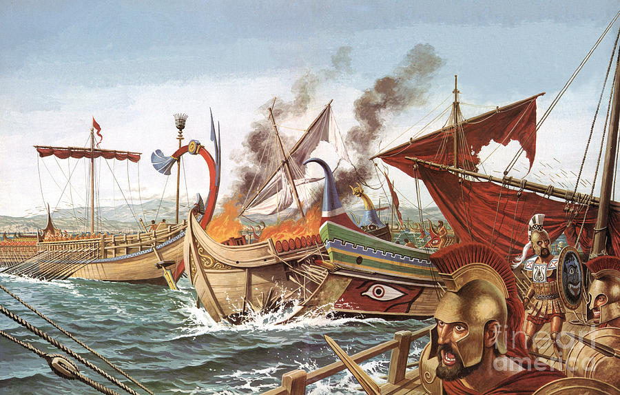 The Battle Of Salamis Painting by English School