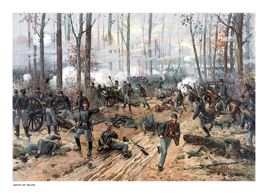 Civil War Painting - The Battle of Shiloh by War Is Hell Store