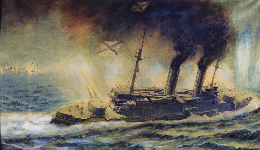 The Painting - The Battle Of The Gulf Of Riga by Mikhail Mikhailovich Semyonov