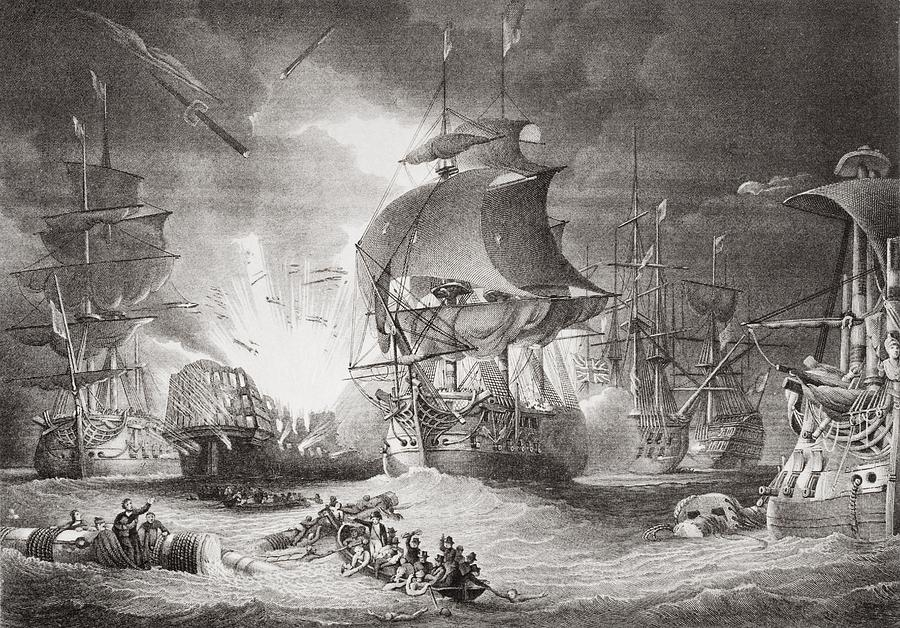 Eighteenth Drawing - The Battle Of The Nile Night Of August by Vintage Design Pics