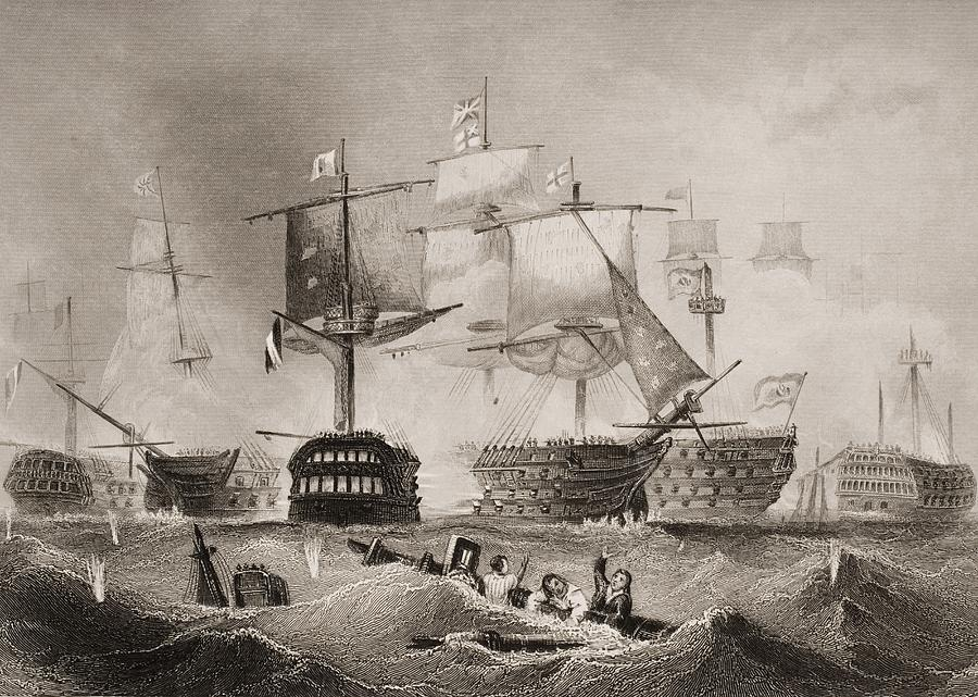 Black And White Drawing - The Battle Of Trafalgar. Engraved By by Vintage Design Pics
