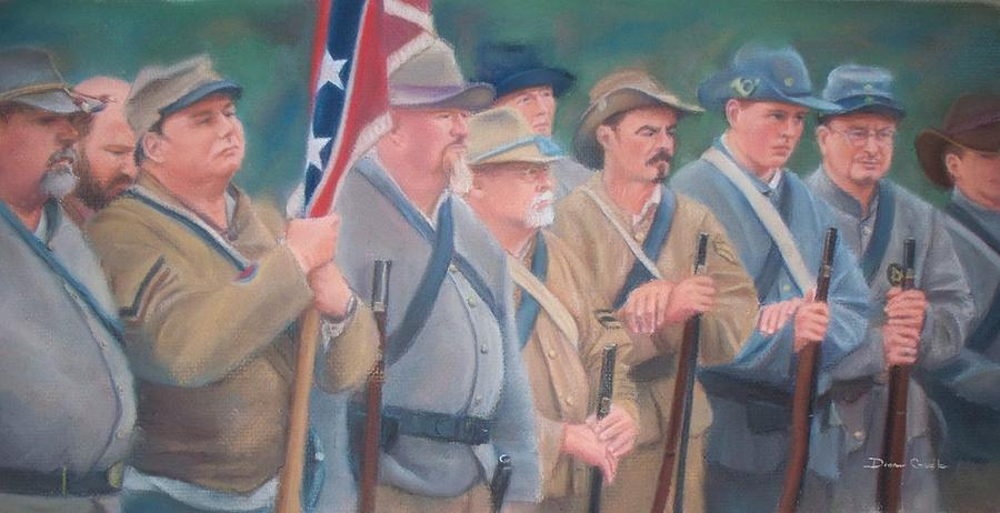 Civil War Reenactment Pastel - The Battle Of Wilsons Store by Diane Caudle