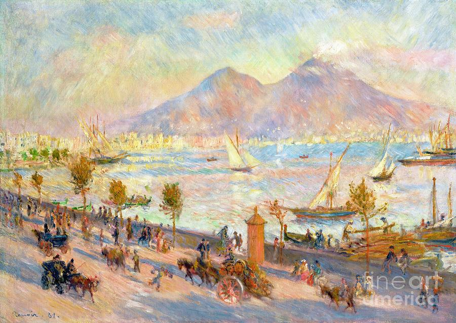 Boats Painting - The Bay Of Naples With Vesuvius In The Background by Pierre Auguste Renoir