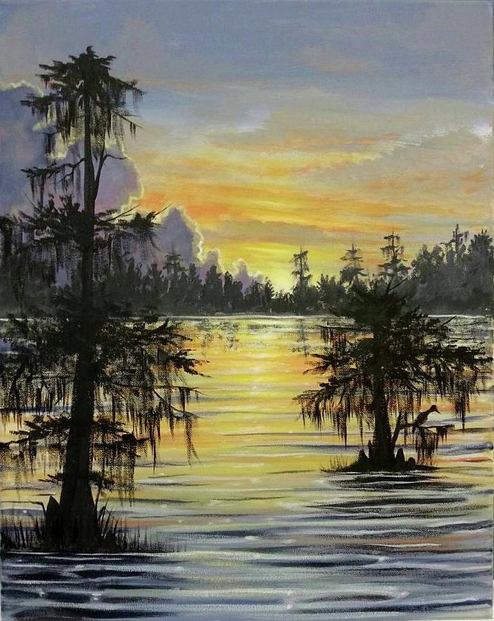 Swamp Painting - The Bayou by Kimberly Blaylock